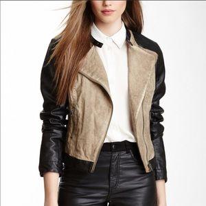 {BLANC NOIR} Linen & Vegan Leather Moto Jacket